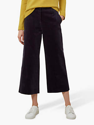 Hannah Crop Cord Trousers, Navy