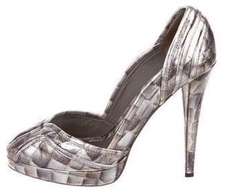 Halston Metallic Leather Pumps