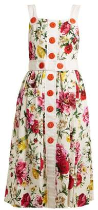 Dolce & Gabbana Floral Brocade Button Detail Midi Dress - Womens - White Multi