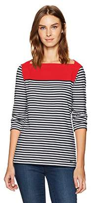 Nautica Women's Long Sleeve Striped Envelope Neck Top