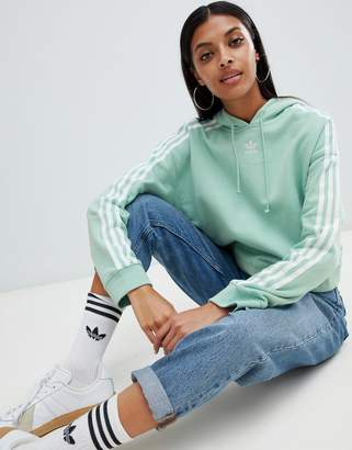 adidas Three Stripe Cropped Hoodie In Green