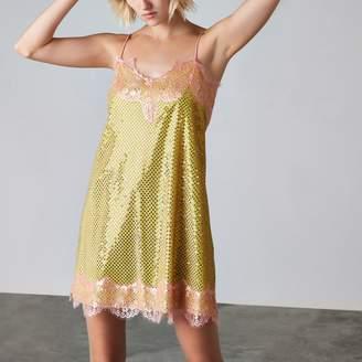 River Island Womens Yellow Ashish sequin lace slip dress