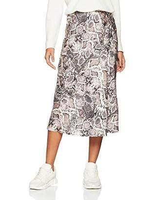 New Look Women's Satin Bias Cut 6194547 Skirt, (Grey Pattern 8), (Size:)