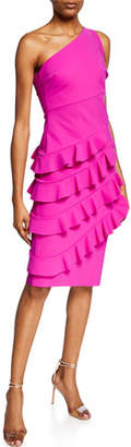 Chiara Boni Matte One-Shoulder Cocktail Dress with Layered Ruffle Skirt