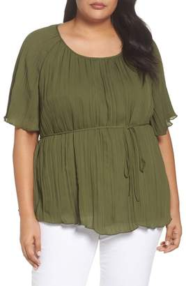 Sejour Crinkle Scoop Neck Top