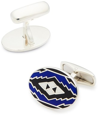 Belfiore Aztec Pattern Oval Silver Cufflinks $195 thestylecure.com