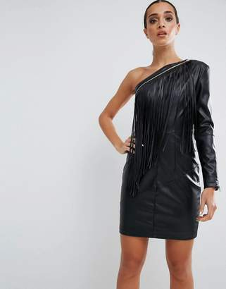 Asos DESIGN Fringe Faux Leather Mini Dress