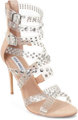 Steve Madden Clear Moto PVC Studded Strappy Sandals