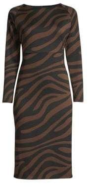 Max Mara Long Sleeve Zebra-Print Sheath Dress