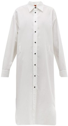 Colville - Long Sleeved Cotton Poplin Midi Shirtdress - Womens - White