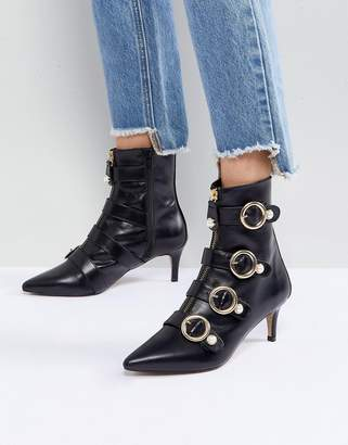 Carvela Sparky Pearl Detail Leather Kitten Heel Ankle Boots