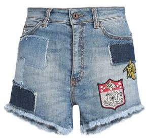 Just Cavalli Appliquéd Faded Denim Shorts
