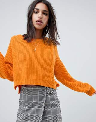 NA-KD cable knit balloon sleeve sweater in orange