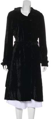 Bottega Veneta Crushed Velvet Long Coat