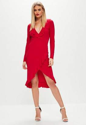 Missguided Red Slinky Plunge Wrap Midi Dress