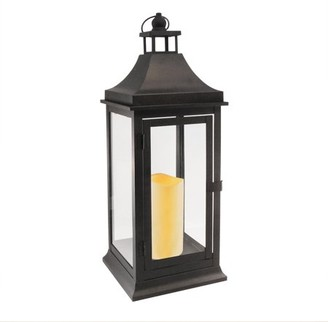 LumaBase Tall Classic Black Metal Lantern with Battery Operated Candle and Timer
