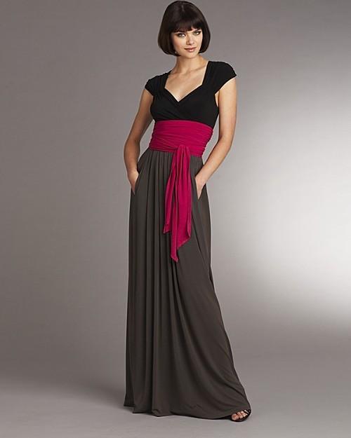 DKNY Long Color Block Wrap Dress