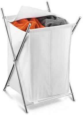 Honey-Can-Do Folding Hamper with 2 Sorters and Steel X-Frame, White/Chrome
