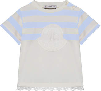Moncler Logo Patch Striped & Solid Top w/ Lace Hem, Size 12M-3