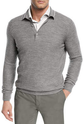 Loro Piana Lightweight Wool-Blend Polo Sweater