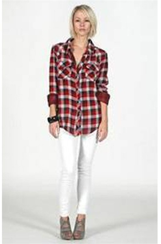 Rails Kendra Navy and Red Plaid Gauze Shirt