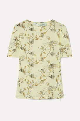 Off-White Printed Stretch-jersey T-shirt - Yellow