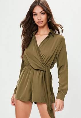 Missguided Khaki Wrap Front Playsuit, beige