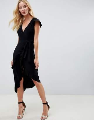 Asos Design DESIGN wrap dress with frill sleeve