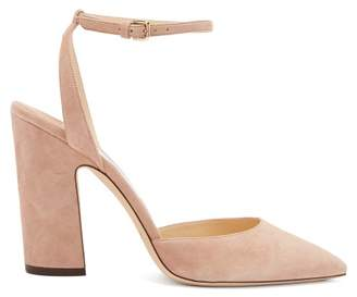 Jimmy Choo (ジミー チュウ) - Jimmy Choo - Micky 100 Curved Heel Suede Pumps - Womens - Nude