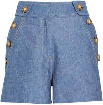 Derek Lam 10 Crosby High Rise Cotton-Linen Shorts