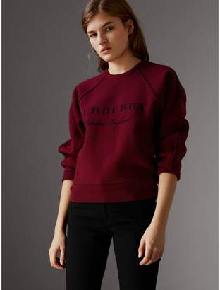 Burberry Topstitch Detail Wool Cashmere Blend Sweater