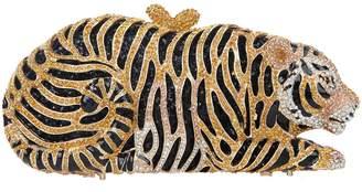 Fawziya Diamond Studded Tiger Shaped Clutch and Handbag Bridal Purse Bag-Gold