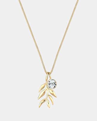 Swarovski Necklace Olive Leaf Branch Crystals 925 Silver Gold Plated
