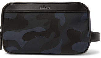 Mulberry Leather-trimmed Camouflage-print Canvas Wash Bag - Navy 15c44896d3ae7