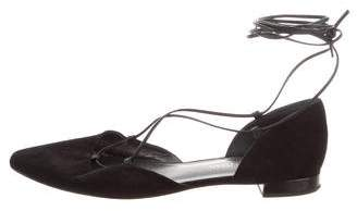 Stuart Weitzman Pointed-Toe Lace-Up Flats