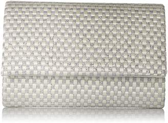 Jessica McClintock Katie Woven Satin Glitter Evening Clutch Shoulder Bag