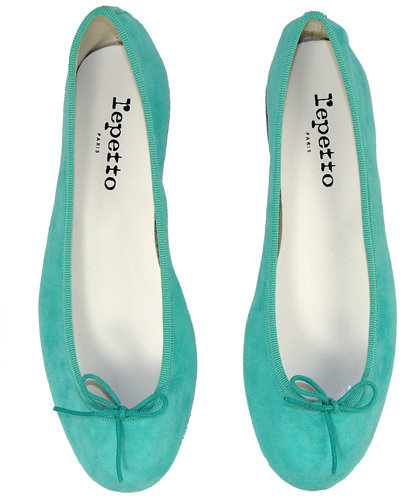 Repetto Bb Suede Ballet In Amazon Green