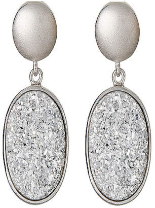 FINE JEWELRY LIMITED QUANTITIES Oval Drusy Quartz Sterling Silver Drop Earrings 1