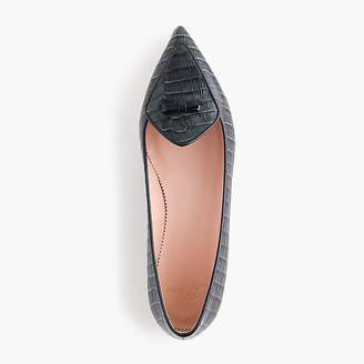 J.Crew Pointed-toe loafer in croc-embossed leather