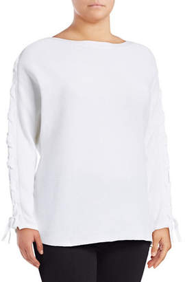Lord & Taylor Plus Lace-Up Dolman-Sleeve Cotton Pullover