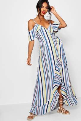 boohoo Ruffle Striped Wrap Maxi Dress