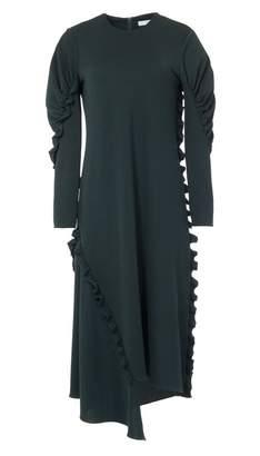 Tibi Crepe Knit Ruched Sleeve Ruffle Dress