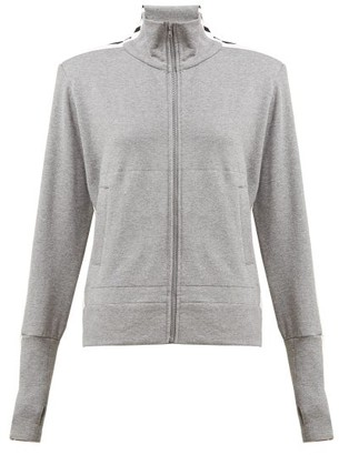 Norma Kamali Side Striped Cotton Blend Track Jacket - Womens - Grey