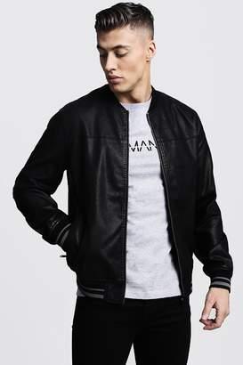 Faux Leather Bomber Jacket
