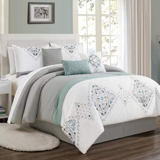 Elight Home Zayn embroidery 7 piece comforter set 21238 Queen