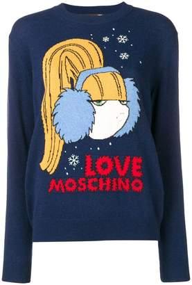 Love Moschino logo intarsia jumper