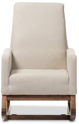 Baxton Studio Yashiya Mid - Century Retro Modern Fabric Upholstered Rocking Chair