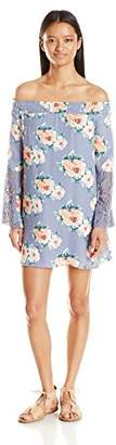 My Michelle Sequin Hearts Junior's Printed Off The Shoulder Long Sleeve Dress
