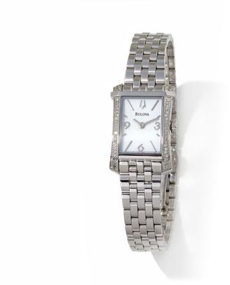 Bulova 0.22ctw Diamond Bezel Rectangular Case Stainless Steel Watch $895 thestylecure.com