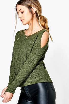 boohoo Petite Cold Shoulder Moss Stitch Jumper